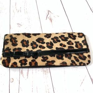 Nordstrom Leopard Pony Hair Clutch Purse